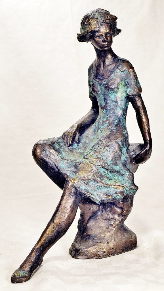 Bronze Cold cast bronze sculpture of young woman