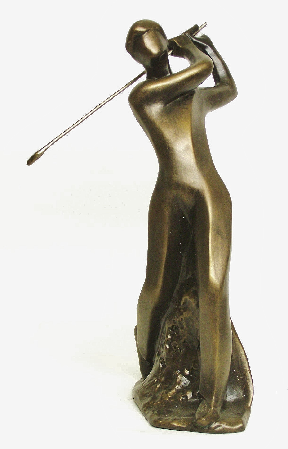 Small modern sculpture featuring a golf player