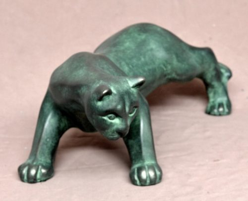 Sculpture of panther in ambush
