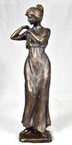Small cold cast bronze sculpture of classical design featuring a young woman