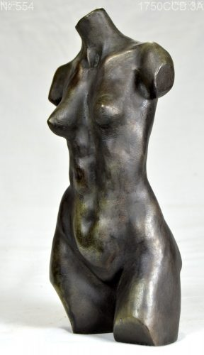 small female torso in cold cast bronze