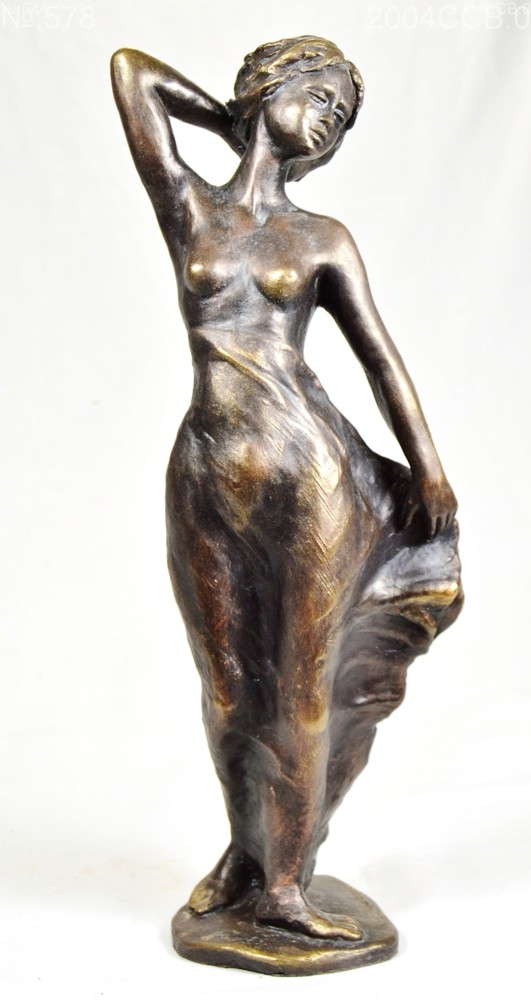 Small sculpture of a youg woman with hand behind the head