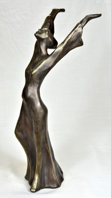 Nice sculpture of an imploring woma with hand up to the heaven