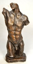 Bronze statue, limited edition sculpture, man torso