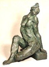 Modern art sculpture, numbered limited edition, seated nude woman